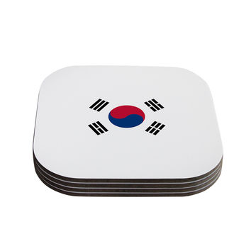 "Bruce Stanfield ""Flag of Korea"" White Digital Coasters (Set of 4)"