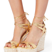 Sergio Rossi Bilbao Lace-Up Platform Wedge Sandals - INTERMIX®