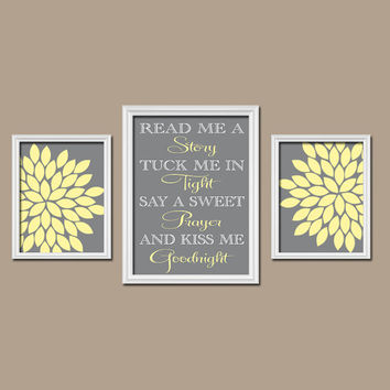 Yellow Gray Read Me a Story Wall Art Girl Nursery Artwork Child Kiss Me Goodnight Quote Sweet Prayer Flower Set of 3 Prints Baby Bedroom