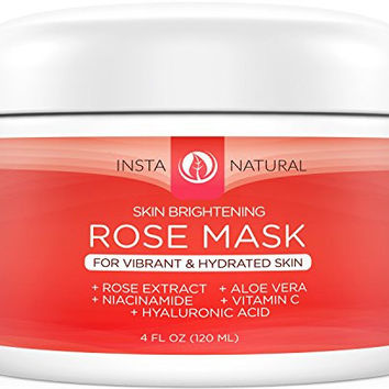 InstaNatural Facial Rose Mask - Best Skin Brightening Mask For Face With Vitamin C, Hyaluronic Acid, Niacinamide, Aloe Vera & More - This Whitening Masque is Made With Fresh Rose Petal Extract - 4 OZ