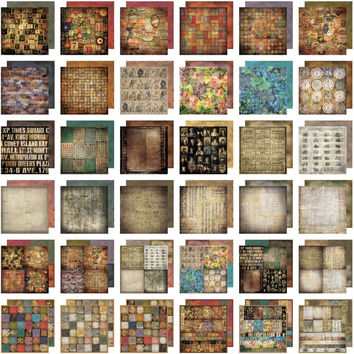 Lost and Found Paper Stash Collection 36 Double Sided Sheets 12x12 Inches: Tim Holtz Idea-ology