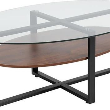 Princeton Collection Glass Coffee Table with Rustic Oak Wood Finish and Black Metal Legs