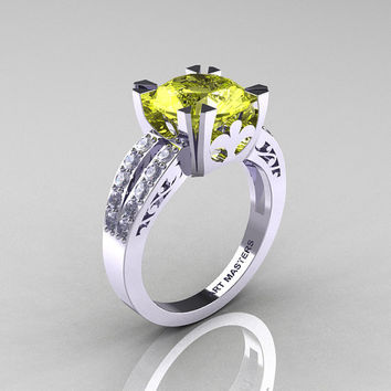 Modern Vintage 14K White Gold 3.0 Carat Yellow Topaz Diamond Solitaire Ring R102-14KWGDYT