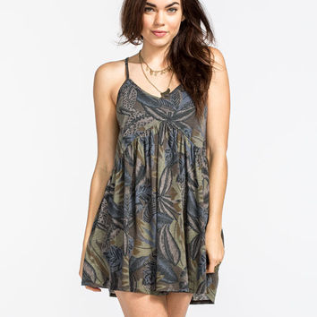Rvca Whimsey Dress Green Combo  In Sizes