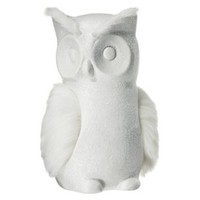 "Threshold™ Owl Figural with Faux Fur Wings - White Shimmer (8"")"
