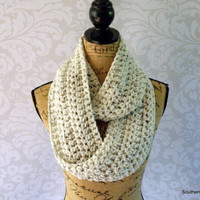 Ready To Ship Infinity Scarf Ivory Tweed Black Brown Women's Accessory Cowl Infinity Scarf
