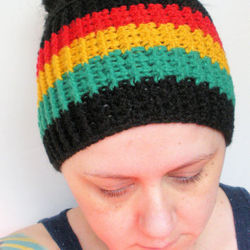 Crochet Rasta Headband Ear Warmer in Red, Gold, Green, and Black, ready to ship.