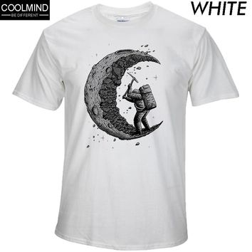 100% cotton digging the moon print casual  t shirts
