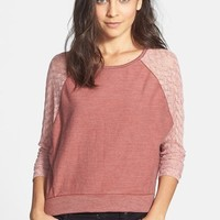 Chloe K Lace Sleeve Knit Top (Juniors)