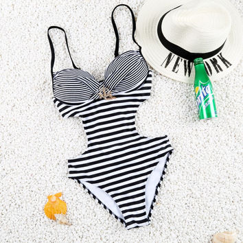 2017 Hot! Sexy One Piece Push Up Striped Fold Swimwear Swimsuit Monokini Bathing Suit with Shining Diamonds -03116