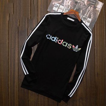 Adidas Multi-color Letter and Logo Print Long Sleeve Sweater(5-Color) Black I-YSSA-Z
