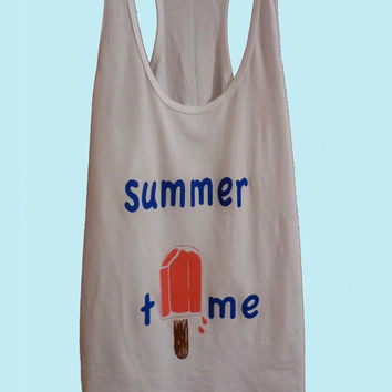 SALE... Summer Time Ice Cream Tank, american apparel, screen print, top Size S M