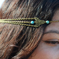 Chain Headpiece Boho Head Jewelry Bohemian Headband Headdress Gypsy Jewelry Chic Bohemian  Hair Jewelry Mara Twirl