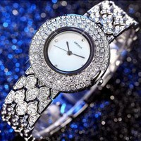 Exquisite Luxury Full CZ Pave Round Dial Watch for Women I02