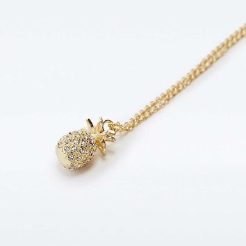 Rhinestone Pineapple Necklace - Urban Outfitters