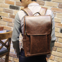 Men's Laptop Bag Brown Leather Travel Backpack