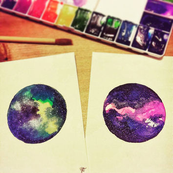 Tiny Galaxy Watercolor Painting