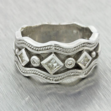 Vintage Estate Men's 18k Solid White Gold .25ctw Diamond Band Ring