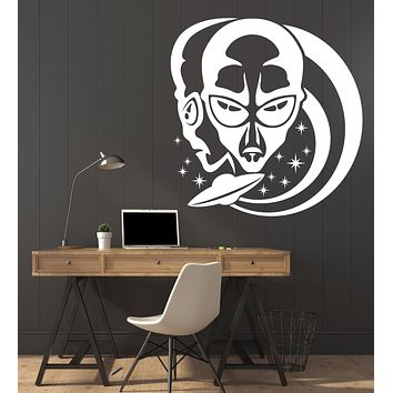 Vinyl Decal Wall Sticker Aliens on a Background Stars and Flying Saucer Unique Gift (n668)