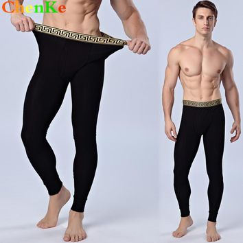 ChenKe Men Cotton Thermal Underwear Gold Tight Waistband Warm Long Johns Leggings Pants 2017 Autumn Winter UnderPants Trousers