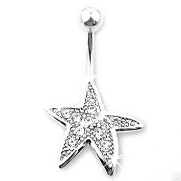Body Accentz™ Belly Button Ring Navel Starfish Body Jewelry 14 Gauge HO249