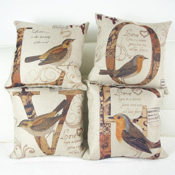 2016 Love birds cushions without insert America vintage lucky design sofa decorative throw pillow office sofa vintage retro