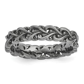 Sterling Silver Stackable Expressions Black-plated Carved