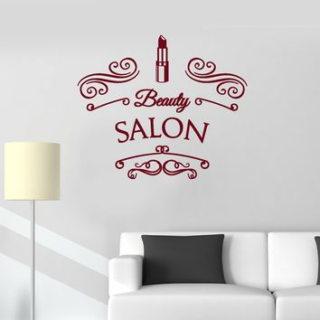 Vinyl Wall Decal Beauty Salon Lipstick Lettering Signboard Decor Art Stickers Mural (ig5659)