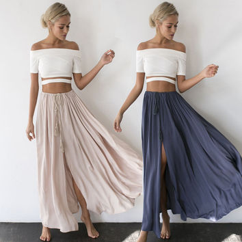 Sexy Fashion Women's Summer Boho Casual Long Maxi Party Beach Skirt Lace Up Pleated High Waist 2 Colors Solid Vent Long Skirt
