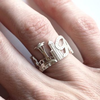 Seattle Cityscape Statement Ring