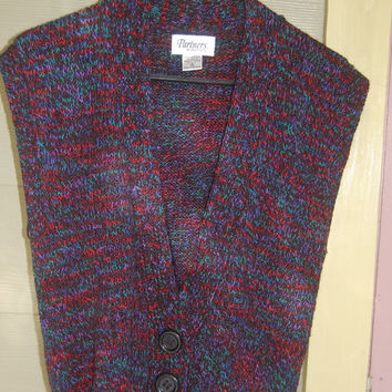 Vintage 80s Marled Black Rainbow Deep V Cardigan Big 3 Button Sweater Vest Size M