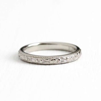 Antique Art Deco 18k White Gold Dated 1927 Orange Blossom Flower Ring - Size 5 Vintage Eternity Wedding Band Fine Milgrain Engraved Jewelry