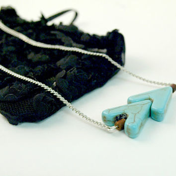 Turquoise arrow necklace with small wooden beads antiqued turquoise double arrow charm simple necklace