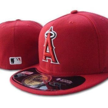 LMF8KY Los Angeles Angels of Anaheim New Era 59FIFTY MLB Cap Red
