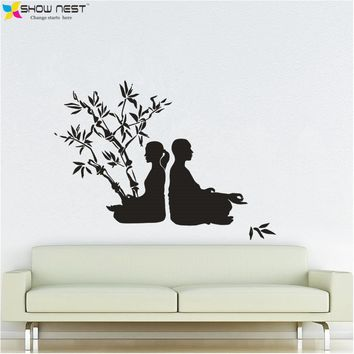 Buddhism Romantic Couple Yoga Tree Chakra Zen Wall Decal Vinyl Stickers Home Decor - Yoga Tree Mural - Yoga Meditation Decals