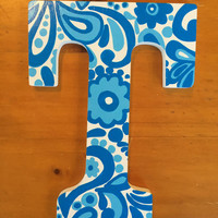 T Floral Painted Wood Letter
