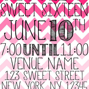 Bright Ombrè Chevron Sweet Sixteen Invitation