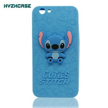 Silicone Phone Cases For OPPO F1S Case Cute 3D Cartoon Stitch Soft Silicone Rubber Mobile Phone Shell Back Cover For OPPO A59