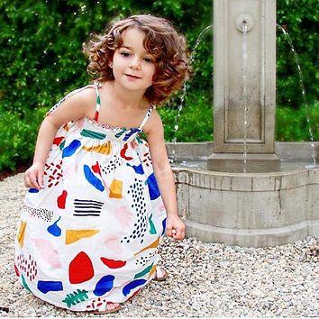 Little Girls Dresses Summer  Kids Dresses for Girls Clothes Graffiti Print Girl Dress Robe For girls