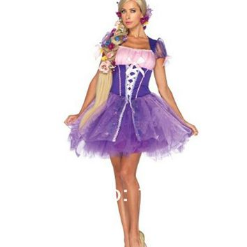 Halloween sexy Costumes WomenS-XXL Adult  princess Rapunzel Costume  fashion carnival high quality Dress Cosplay  for Women Girl