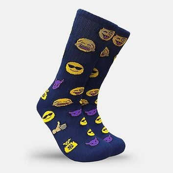 Emoji Face Navy Crew Socks