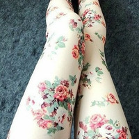 Begie Rose Floral Printed Leggings for Women