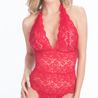 Floral Lace Halter Teddy