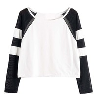 Contrast Stripe Mesh Splicing T-shirt