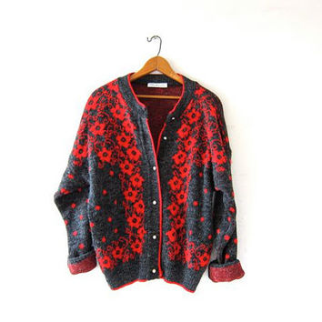 Vintage cardigan sweater. Floral & polka dotted sweater. Slouchy knit cardigan. Red + gray.