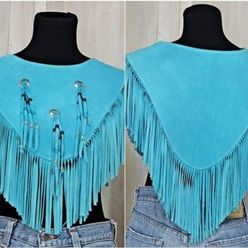 Fringed leather poncho / size S / Vintage 70s / turquoise southwestern / tribal / boho  / hippie / festival poncho / HB made in USA