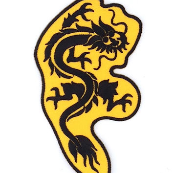 Dragon Embroidered Iron on Patch Size 7.2 x 12.2 cm