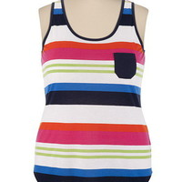 Multi Stripe Tank with Pocket