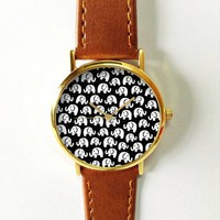Elephant Watch, Women Watches, Mens Watch, Leather Watch, Vintage Style, Black and White,