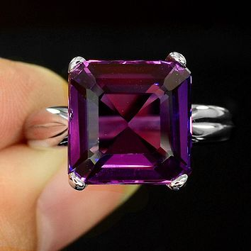14K White Gold 9CT Princess Cut Purple Sapphire Ring